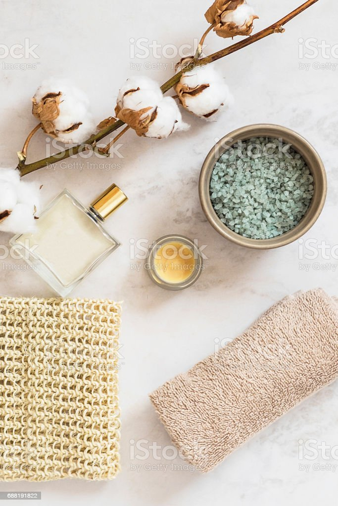 Organic spa cosmetic on marble background stock photo