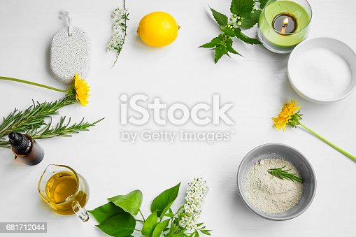 istock Organic spa.Skincare natural ingredients with clay, olive oil,pumice stone, herbal extracts, home-spa concept 681712044