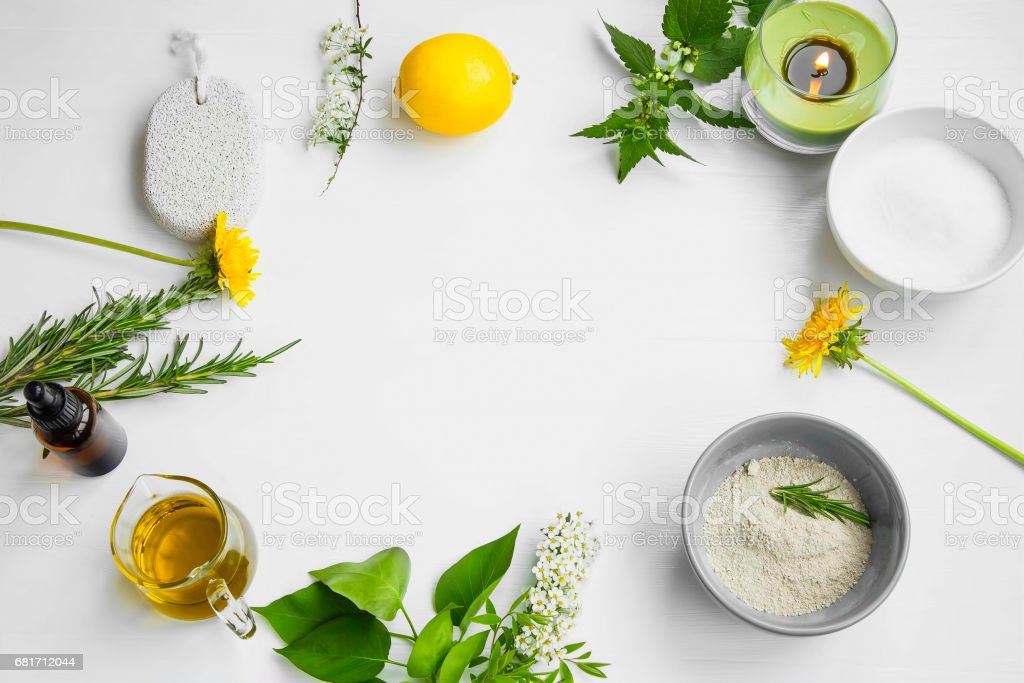 Organic spa.Skincare natural ingredients with clay, olive oil,pumice stone, herbal extracts, home-spa concept stock photo