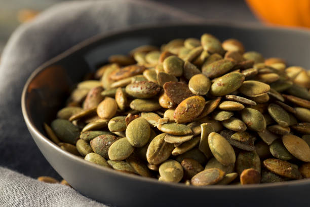 Organic Spicy Homemade Pumpkin Seeds stock photo