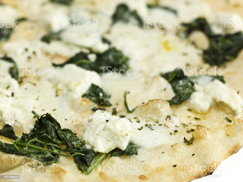 Organic spinach and ricotta pizza stock photo