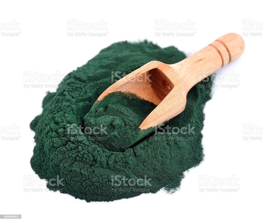 Organic spirulina algae powder. stock photo