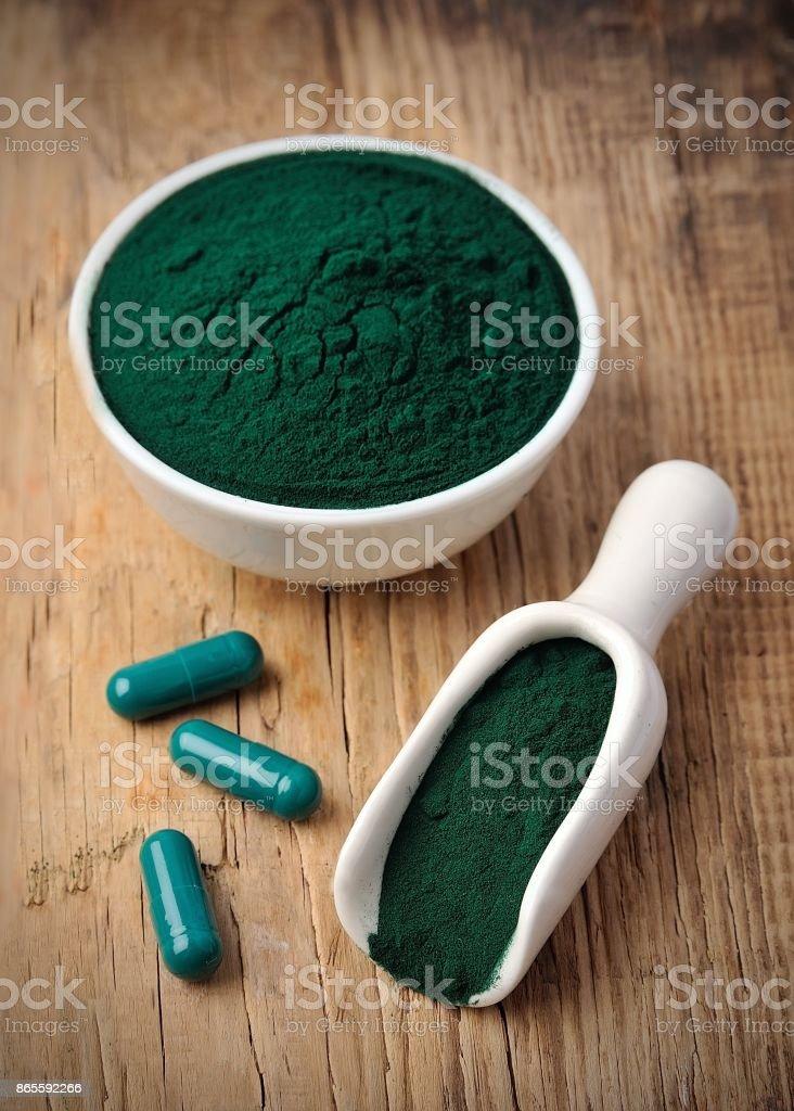 Organic spirulina algae powder stock photo