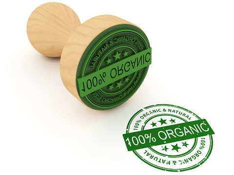 100% organic stamp. Digitally generated image isolated on white background