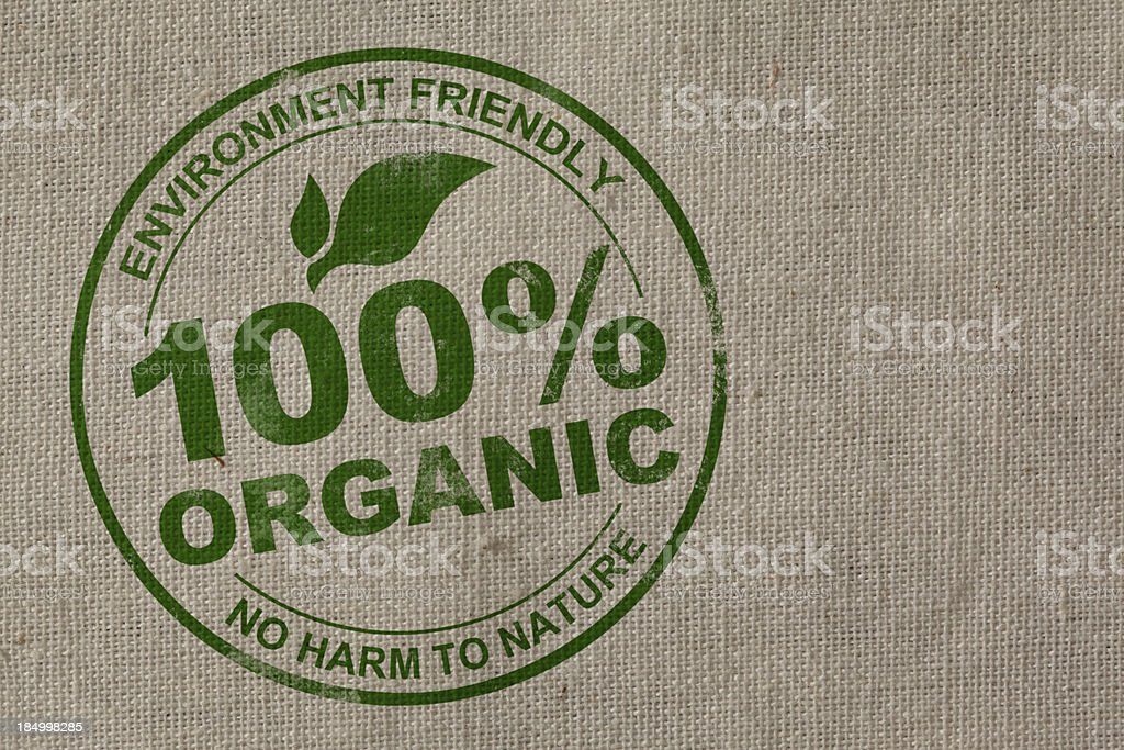 100% Organic Stamp stock photo
