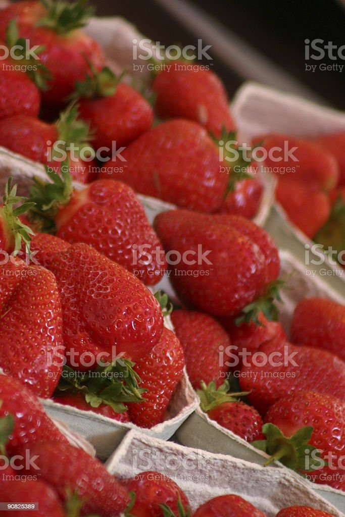 Organic strawberries in punnets royalty-free stock photo