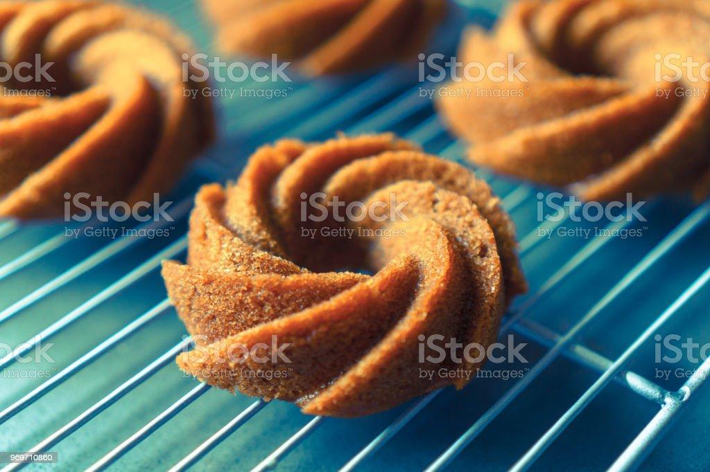 Organic Vegan Apple Cider Mini Bundt Cake stock photo