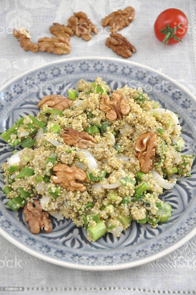 Organic Vegan Quinoa Salad with walnut royalty-free stock photo