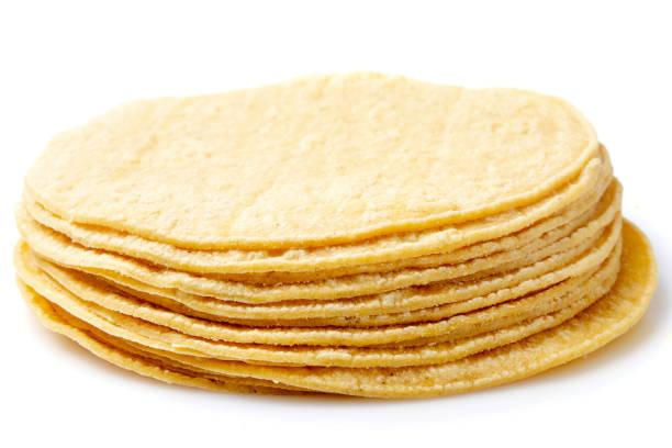 organic vegan yellow corn tortillas - tortilla stock photos and pictures