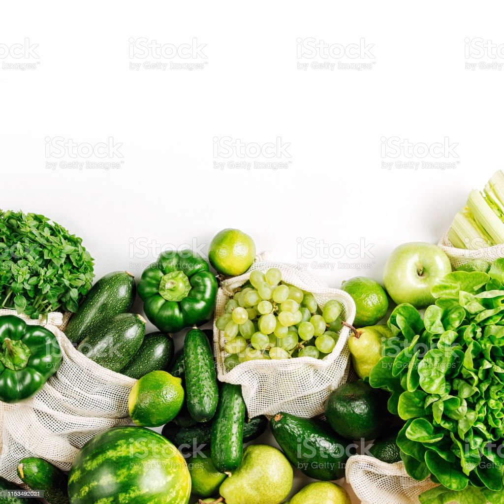 Organic Vegetables And Fresh Green In Reusable Produce Bags Healthy Food Concept Sustainable Lifestyle Flat Lay Top View Stock Photo Download Image Now Istock