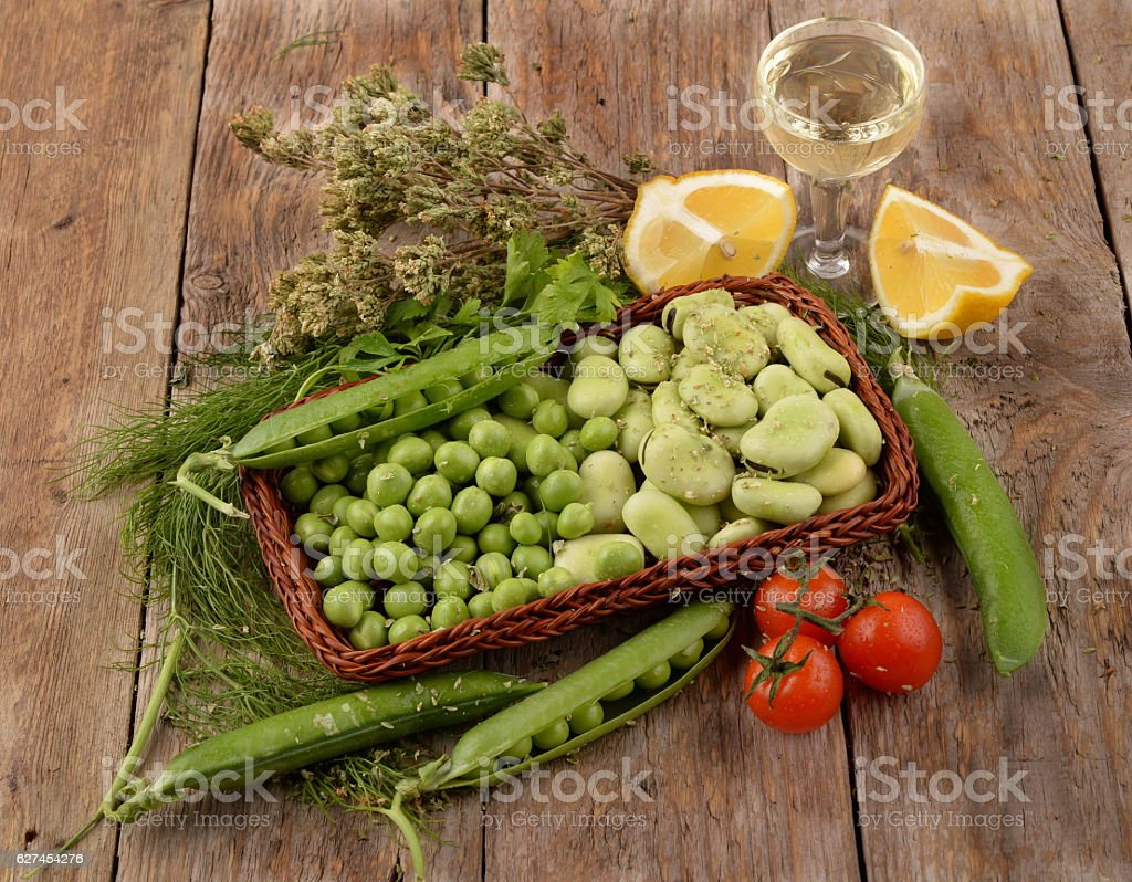 organic vegetables beans and peas stock photo