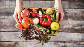 istock Organic vegetables healthy nutrition concept on wooden background 933093612