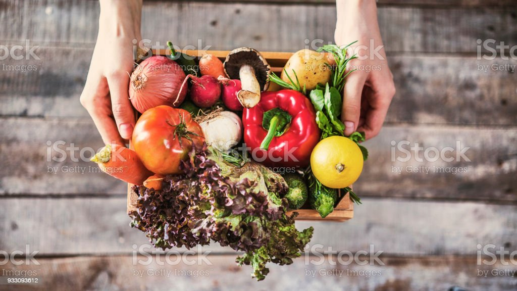 Organic vegetables healthy nutrition concept on wooden background stock photo