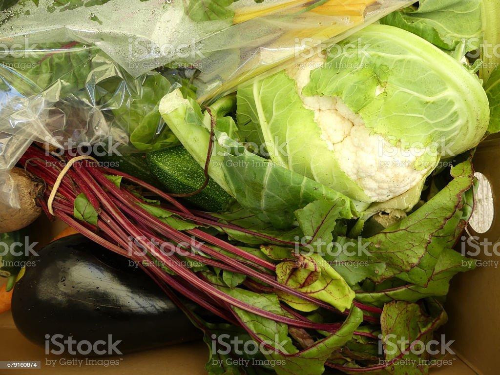Organic vegetables in vegetable box - closeup 3 stock photo
