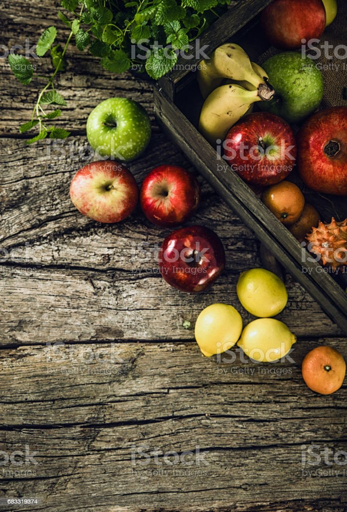 Organic vegetables on wood royalty-free stock photo