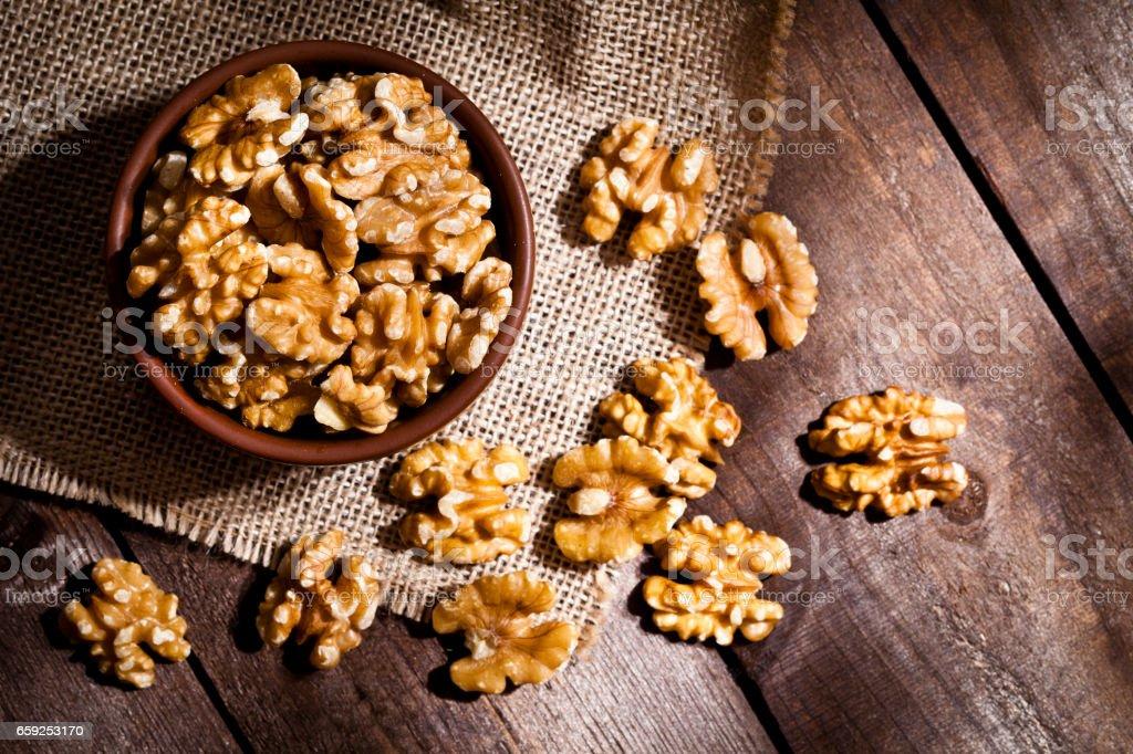 Organic walnuts still life foto stock royalty-free