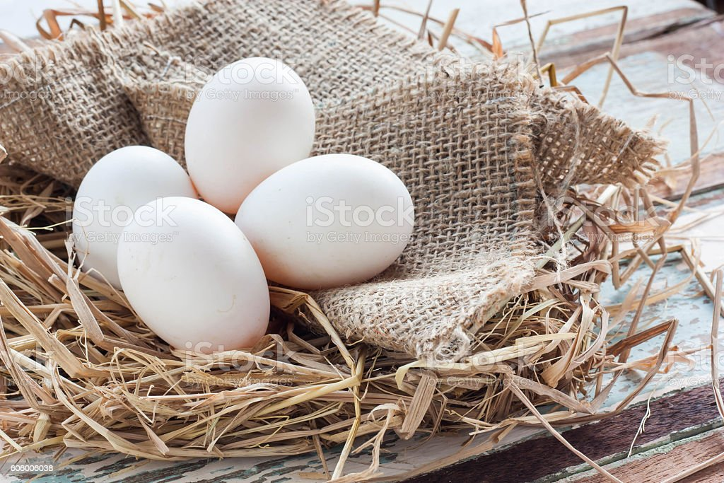 Organic white eggs on vintage wooden background. stock photo