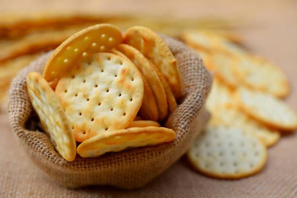 Organic Whole Wheat Soda Crackers stock photo