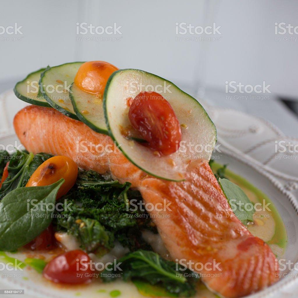 Organic Wild Alaskan Salmon stock photo