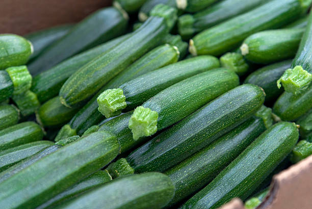 organic zucchini, vegetables at farmer's market: healthy eating food background - courgette stockfoto's en -beelden