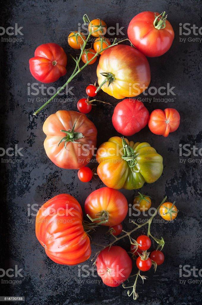 Organically Grown Heirloom Tomatoes stock photo
