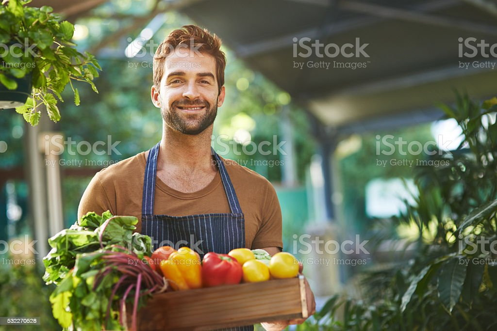 Portrait of a man holding a crate full of fresh produce in a farmer\'s...