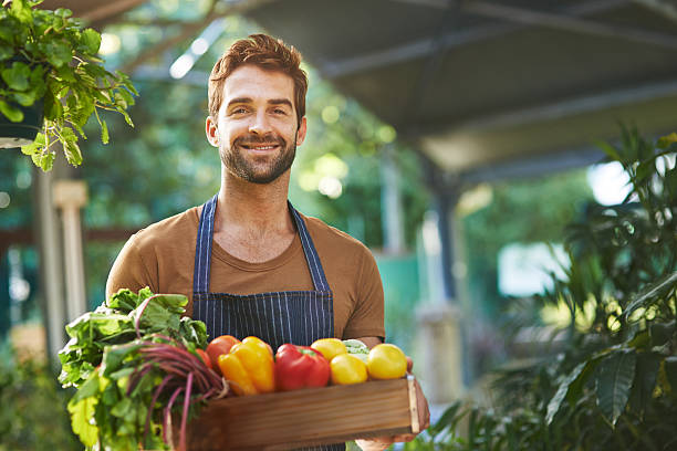 organically grown produce without the pesticides - farmer stock photos and pictures