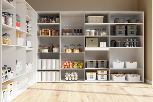 Organised Pantry Items In Storage Room With Nonperishable Food Staples, Preserved Foods, Healty Eatings, Fruits And Vegetables.