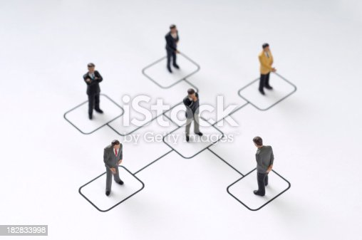 6 Businessmen figurines standing on organization chart