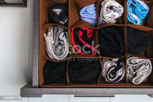 1222867278 istock photo Organization of storage of socks and panties in the drawer of the chest of drawers, cabinet. 1003997778