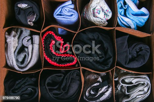 1222867278 istock photo Organization of storage of socks and panties in the drawer of the chest of drawers, cabinet. 979488790