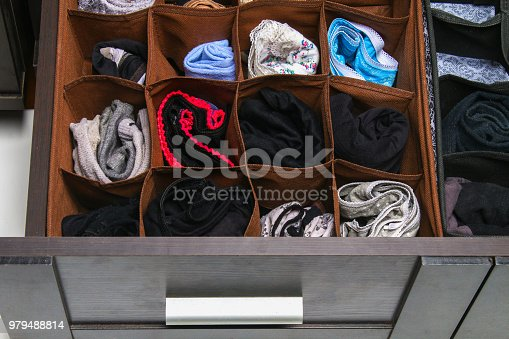 1222867278 istock photo Organization of storage of socks and panties in the drawer of the chest of drawers, cabinet. 979488814
