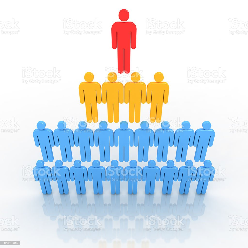 Organizational structure.  Pyramid model. stock photo
