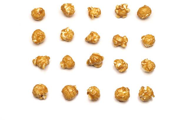 Organized caramel coated popcorn stock photo