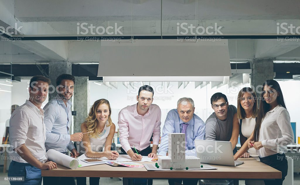 Organized Group Photo in the office. stock photo