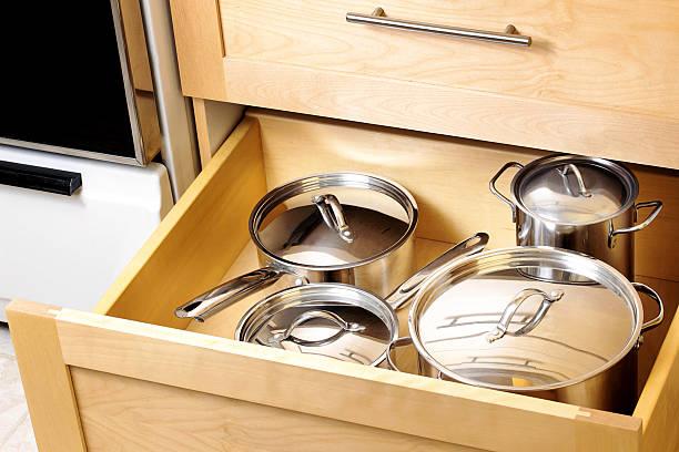 Organized kitchen drawer stock photo