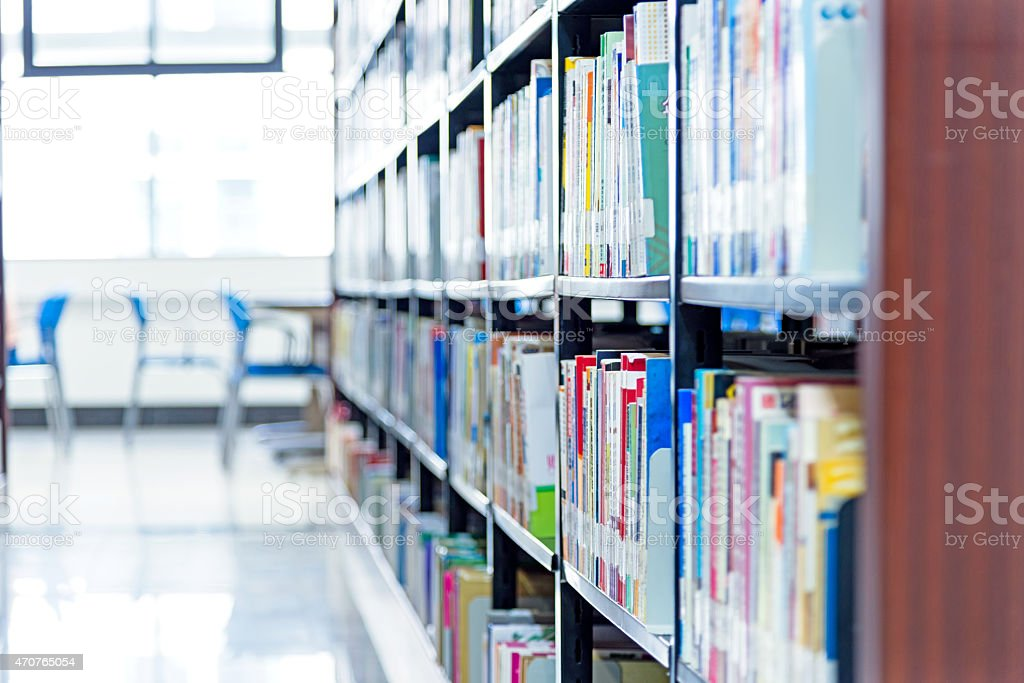Organized library at a university stock photo