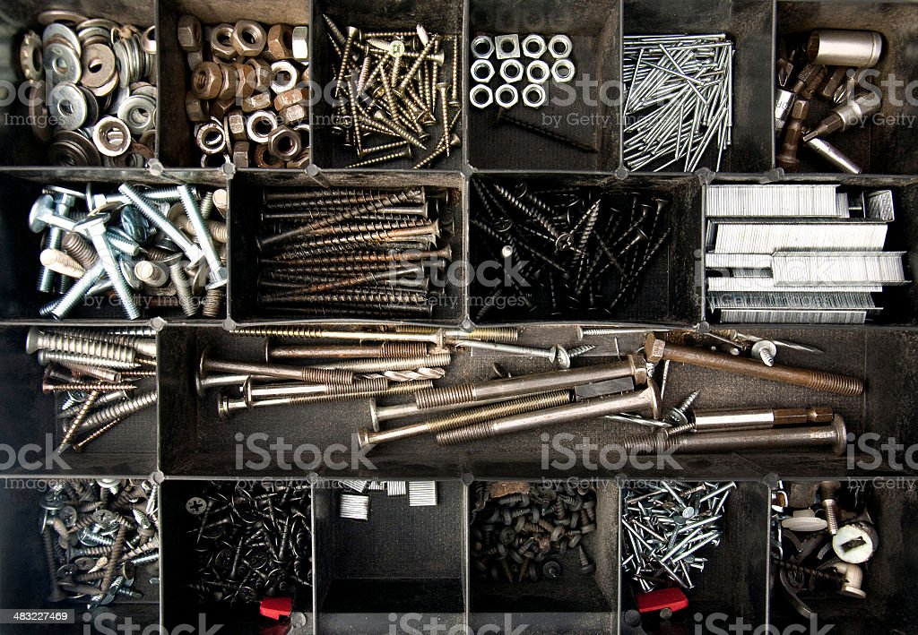 Organized nails, bolts and screws stock photo