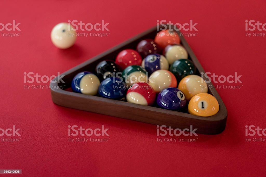 Organized pool balls foto de stock libre de derechos