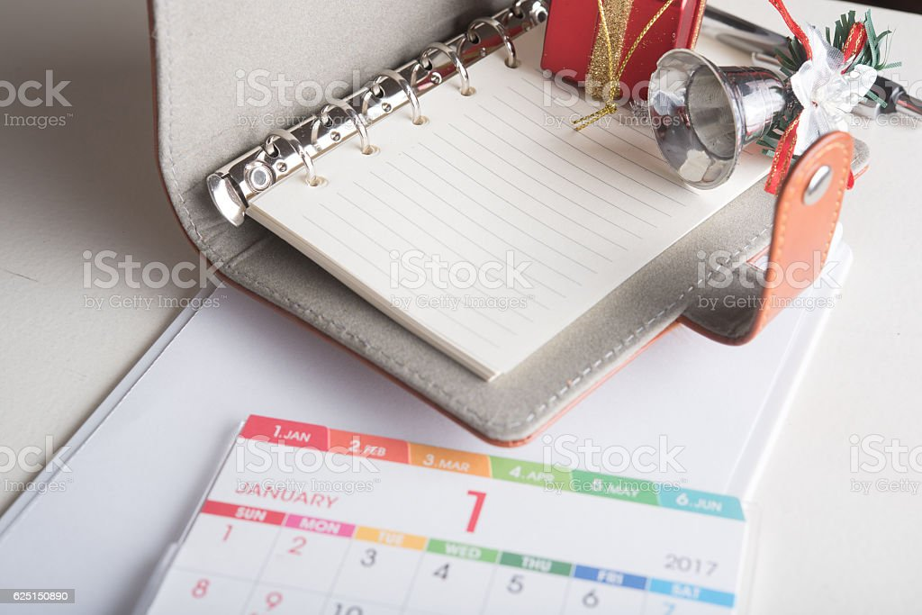 organizer book with blank page  and holiday decoration stock photo