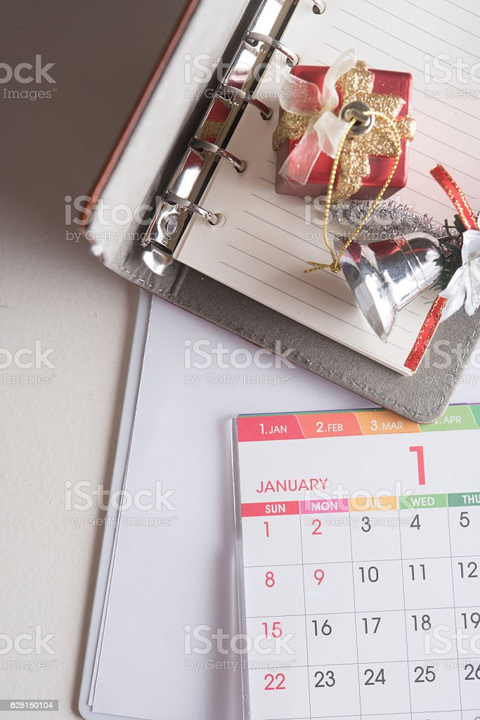 organizer book with calendar and holiday decoration stock photo