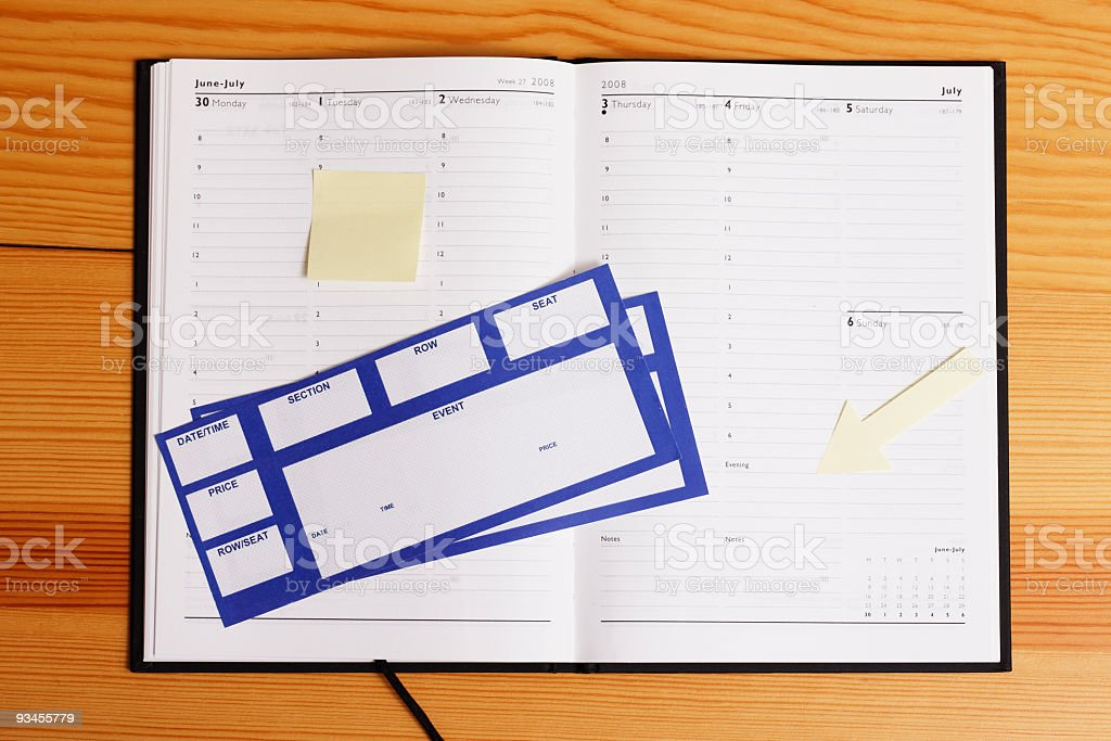 Organizer with Event Tickets and Notes royalty-free stock photo