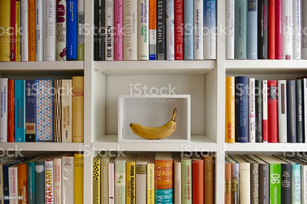 Organizing the Ibrary: white box presenting a banana stock photo