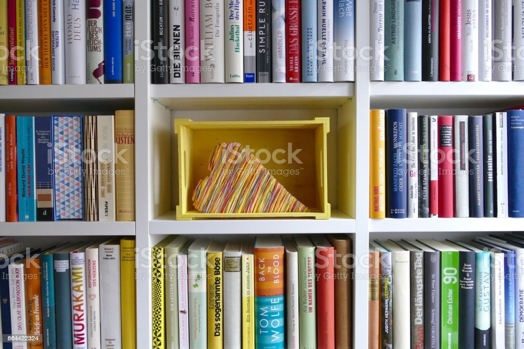 Organizing the Ibrary: yellow box presenting coloful heart stock photo
