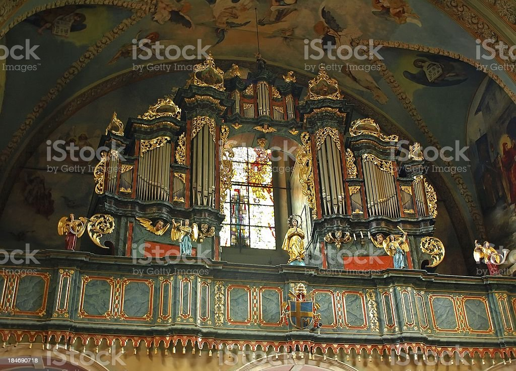 Organs in Kalwaria Zebrzydowska church stock photo