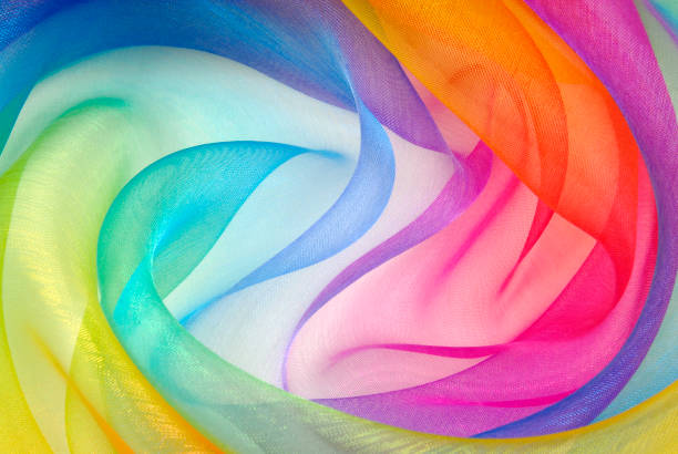 organza fabric in rainbow color - multi colored stock pictures, royalty-free photos & images