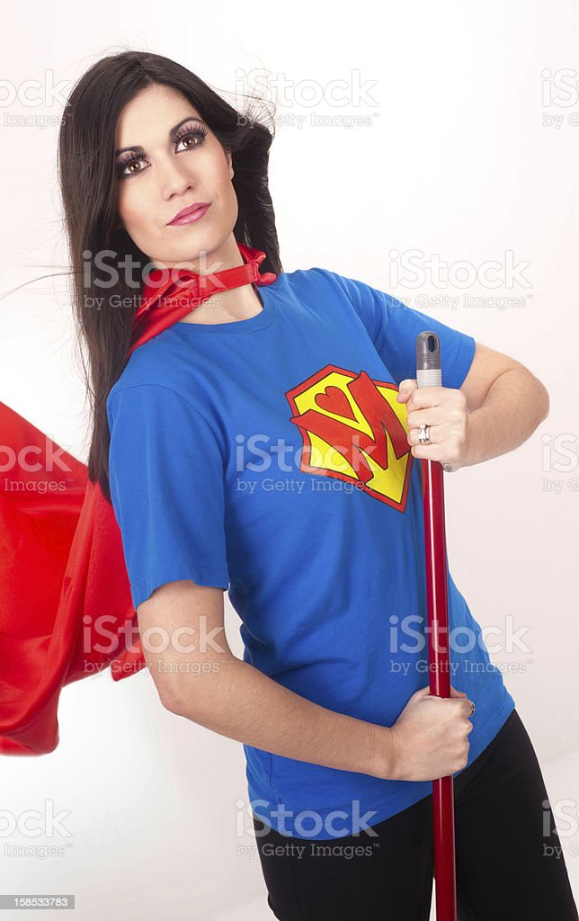Oridinary Woman Everyday Super Hero Keeps it clean royalty-free stock photo