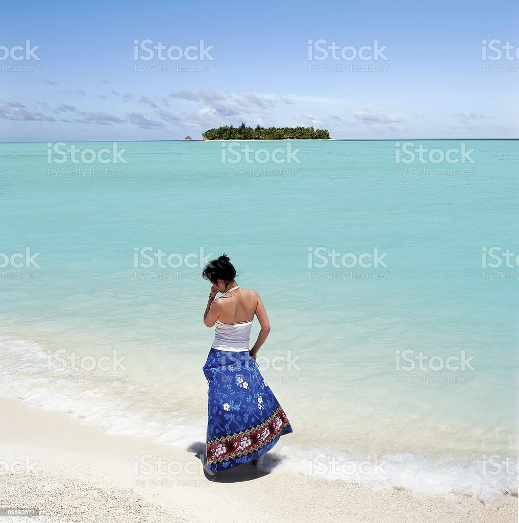 orient girl on the beach royalty-free stock photo