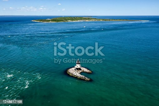 Seascape with Orient Point Lighthouse in Long Island, New York. Orient is the eastern-most town on Long Island's picturesque North Fork.