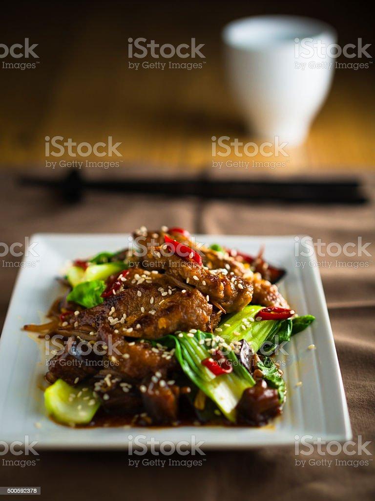 Oriental Beef stir-fired stock photo
